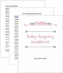 Customized baby registry guidebook.