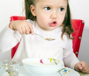 Toddler eating soup. Meal ideas for picky toddlers.