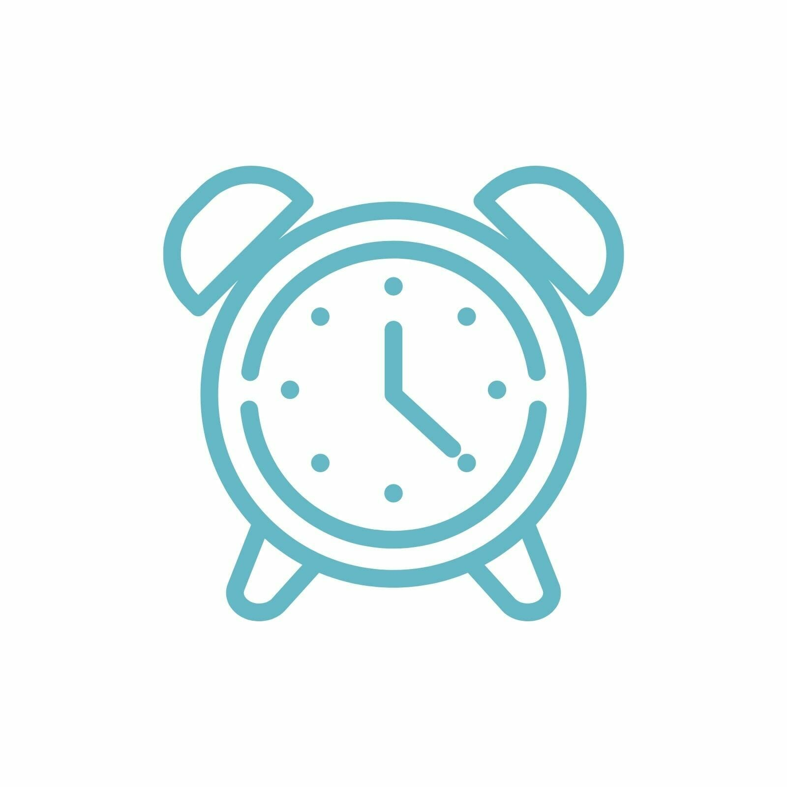 Graphic of an alarm clock.